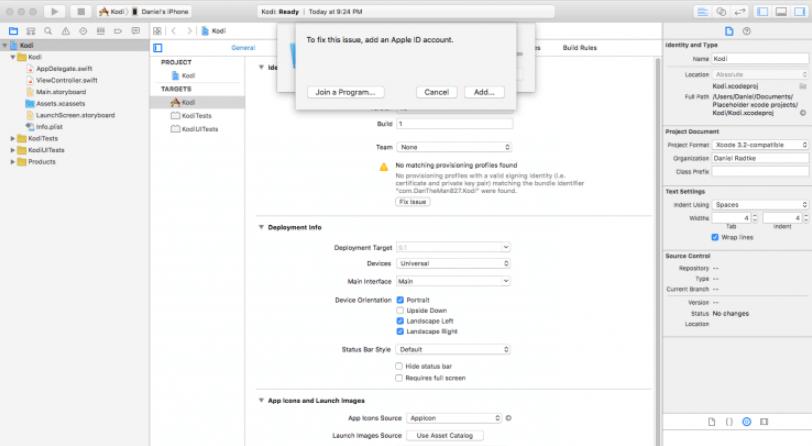 Update Kodi on iOS Xcode Step 4