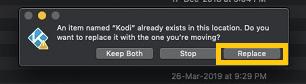 Update Kodi on macOS Step 3