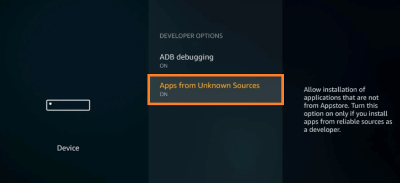 Enabling apps from unkown sources Step 2
