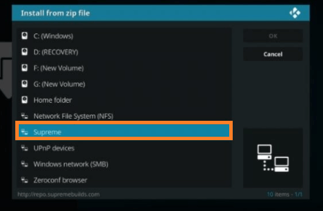 Install a Kodi Build step 7