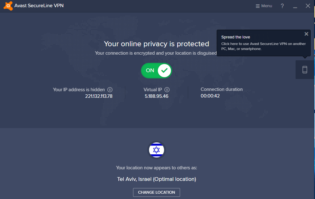 Avast SecureLine VPN User Friendly Interface