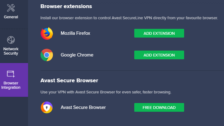 Avast SecureLine VPN Access To Browser Extensions
