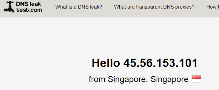 DNS leak test Singapore server