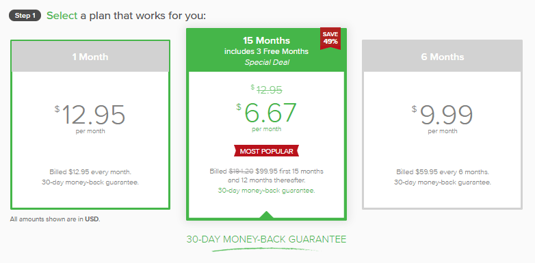 ExpressVPN Coupon Step 1 choosing a package