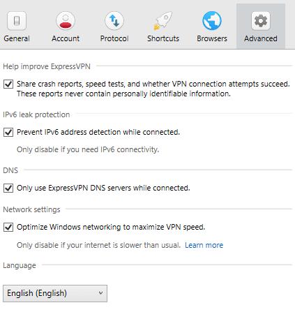 ExpressVPN advanced settings