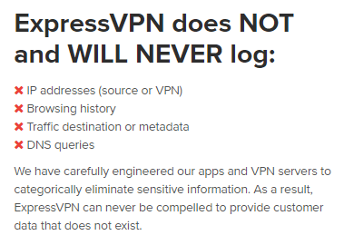ExpressVPN logging policy