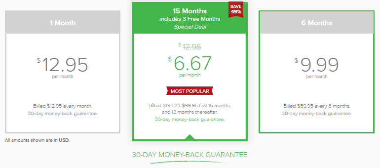 ExpressVPN pricing plan
