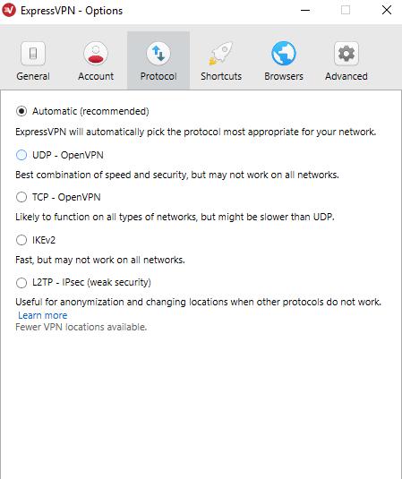 ExpressVPN protocol switches