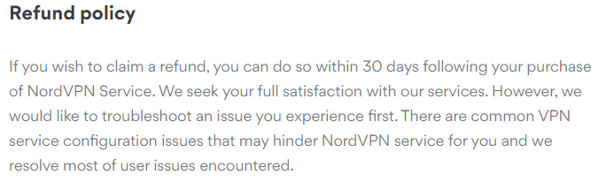 NordVPN refund policy