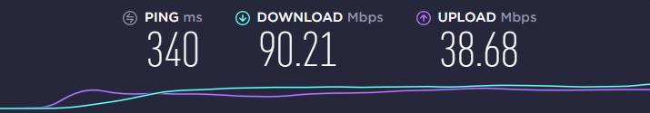 NordVPN speed test using an AUS server