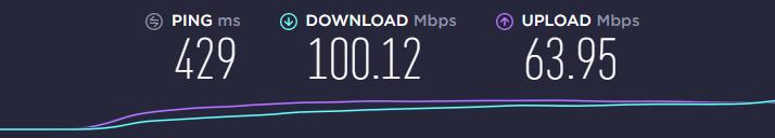 NordVPN speed test using the US server