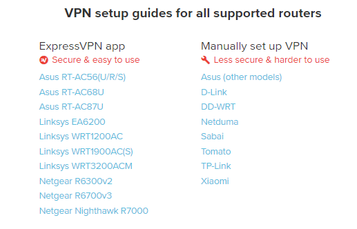 Supported ExpressVPN routers