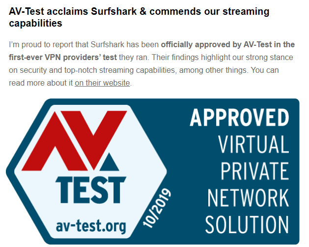 Surfshark approved by AV-Test as one of the best VPNs