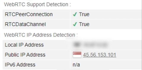 WebRTC leak test Singapore server