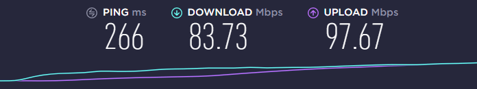 speed test using the ExpressVPN UK server