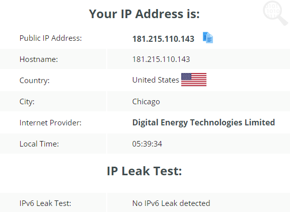 testing the IP leak test usng the US server