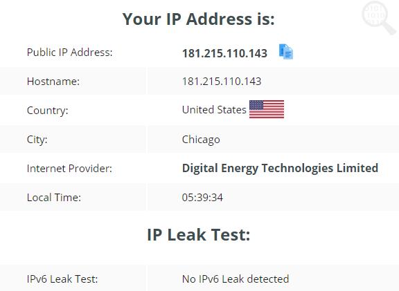 testing the IP leak test usng the US server