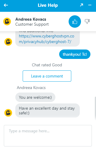 CyberGhost A 24/7 Llive Customer Support Chat