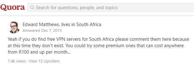 Free VPN South Africa Quora