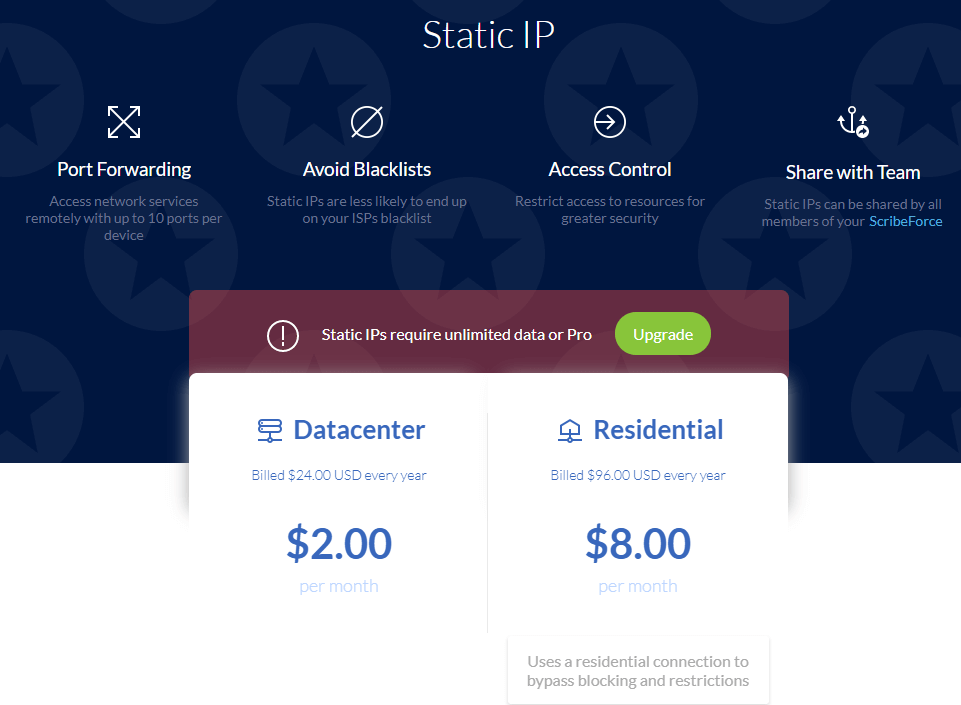 Windscribe VPN static IP Prices