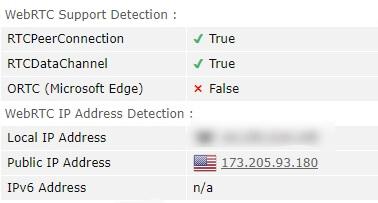 Windscribe WebRTC Leak Test Connected To A US Server