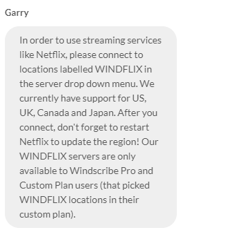 Windscribe Chat Support And Netflix