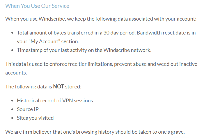 Windscribe Privacy Policy