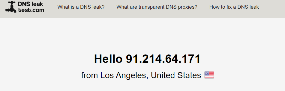 ZenMate DNS Leak Test Connected To US Server