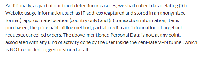 ZenMate Privacy Policy Data Collection