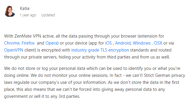 ZenMate Privacy Policy Statement