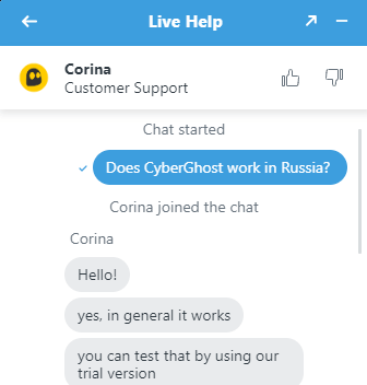 CyberGhost Support Chat Russian VPN