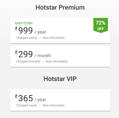 Hotstar Prices In India