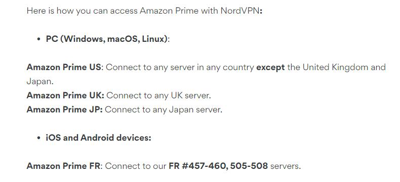 NordVPN Amazon Prime Servers