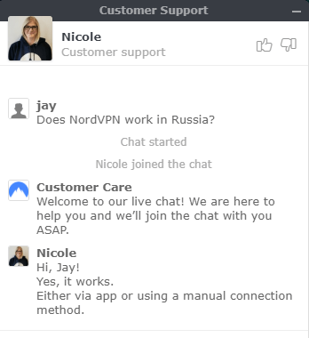NordVPN Russian Servers Support Chat