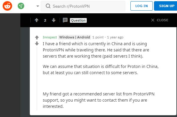 ProtonVPN China Reddit