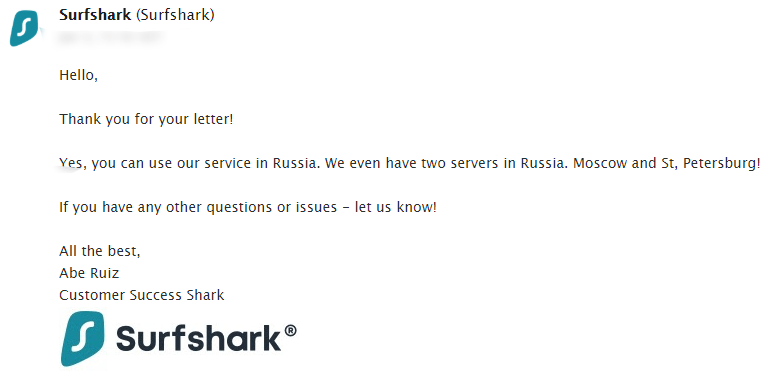 Surfshark VPN Russian Server Support Chat