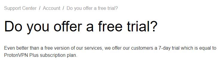 ProtonVPN 7-Day Trial Refund