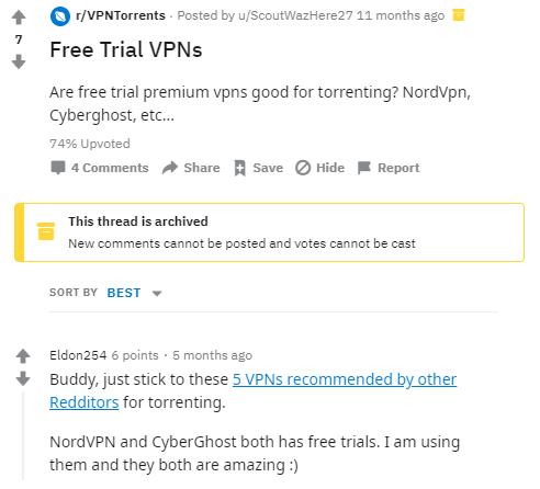 Reddit Free Trial VPN