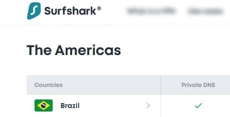 Surfshark uses Brazil as optional server