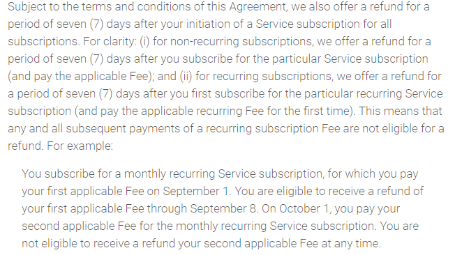 7 day refund policy