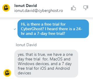 Cyberghost free trial support chat