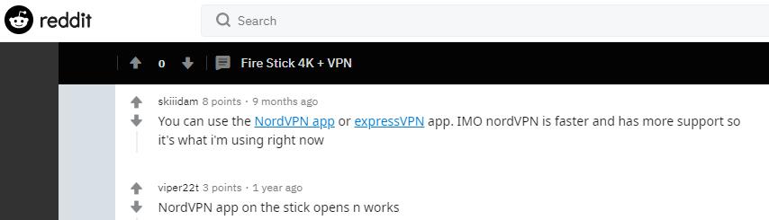 Firestick VPN choices by Reddit community