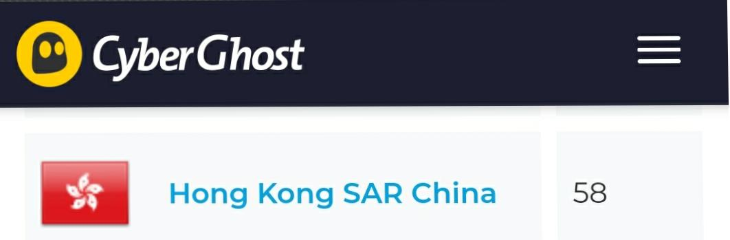 Hong Kong servers CyberGhost