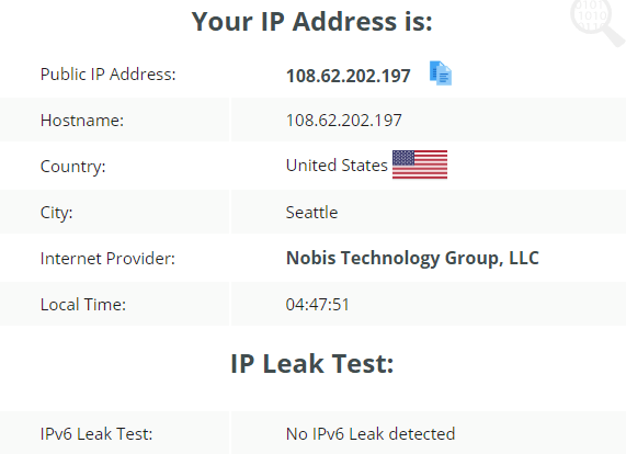 IP leak test using US server