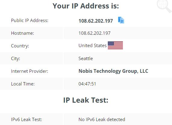 IP leak test using US server