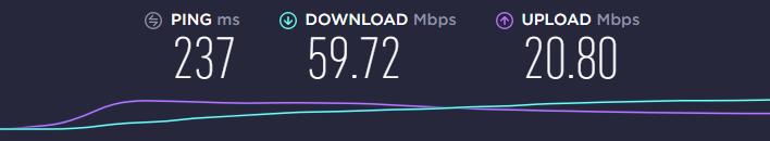 Speed test on US server