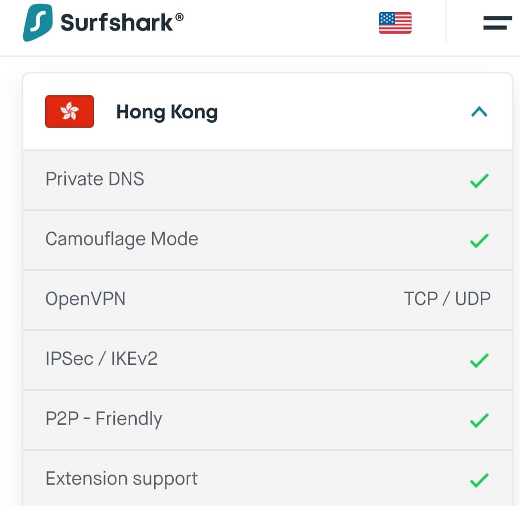 Surfshark VPN Hong Kong servers