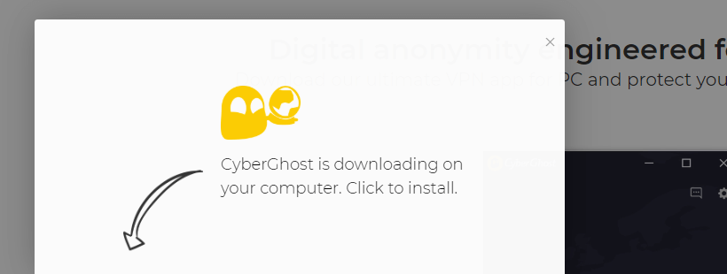 The 24 hr CyberGhost free trial step 2