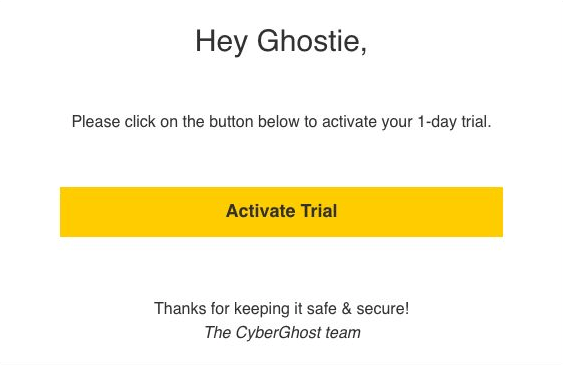 The 24 hr CyberGhost free trial step 4
