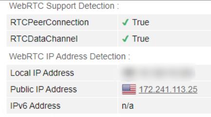 WebRTC leak test on US server